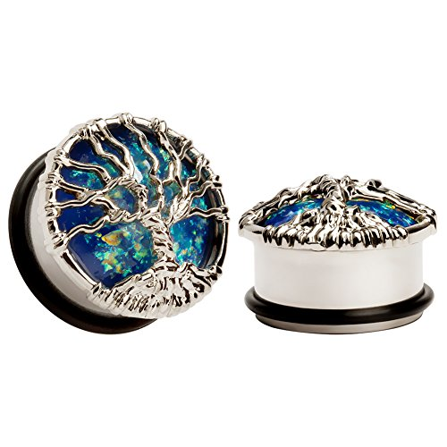 KUBOOZ Blue Planet Silvery Tree Ear Plugs Tunnels Gauges, No Color, Size No Size