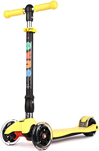 Trougetinette YXX Scooters en Aluminium Jaunes de Coup-de-Pied pour des Enfants, Scooter Se Pliant avec des Roues, Cadeaux d'anniversaire pour des Filles de Garçons d'enfants (Taille   3 Wtalons)
