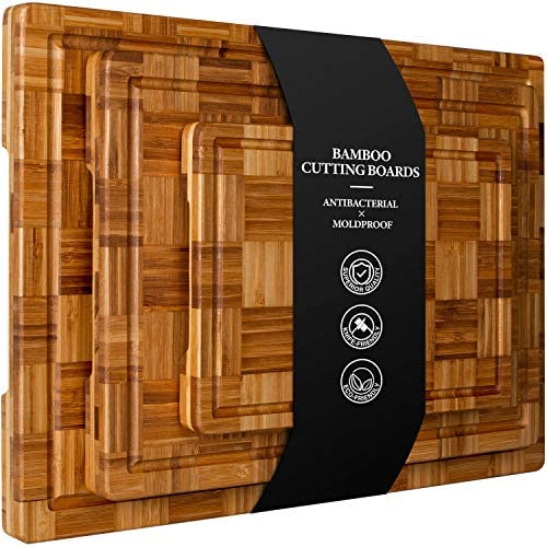 Extra Large Bamboo Cutting Boards Set of 3 Chopping Boards with Juice Groove Organic Bamboo product image