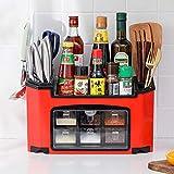 Organizzatore dello scaffale da cucina con 6 Pentole di spezie a base di erbe, coltelli di posate Tagliere Collezione-Holder Collezione-Cucina funzionale Vassoio a 2 strati A 2 Layer Tray-Organizer