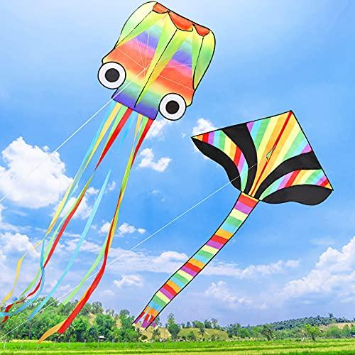 LETOMY Cometa 2 Pack, 4M Cometa para Adultos, Cometa de Iris de Triangular y Pulpo Volando al Aire Libre Suave con Vientos para los Niños y Adultos Playa Jardín