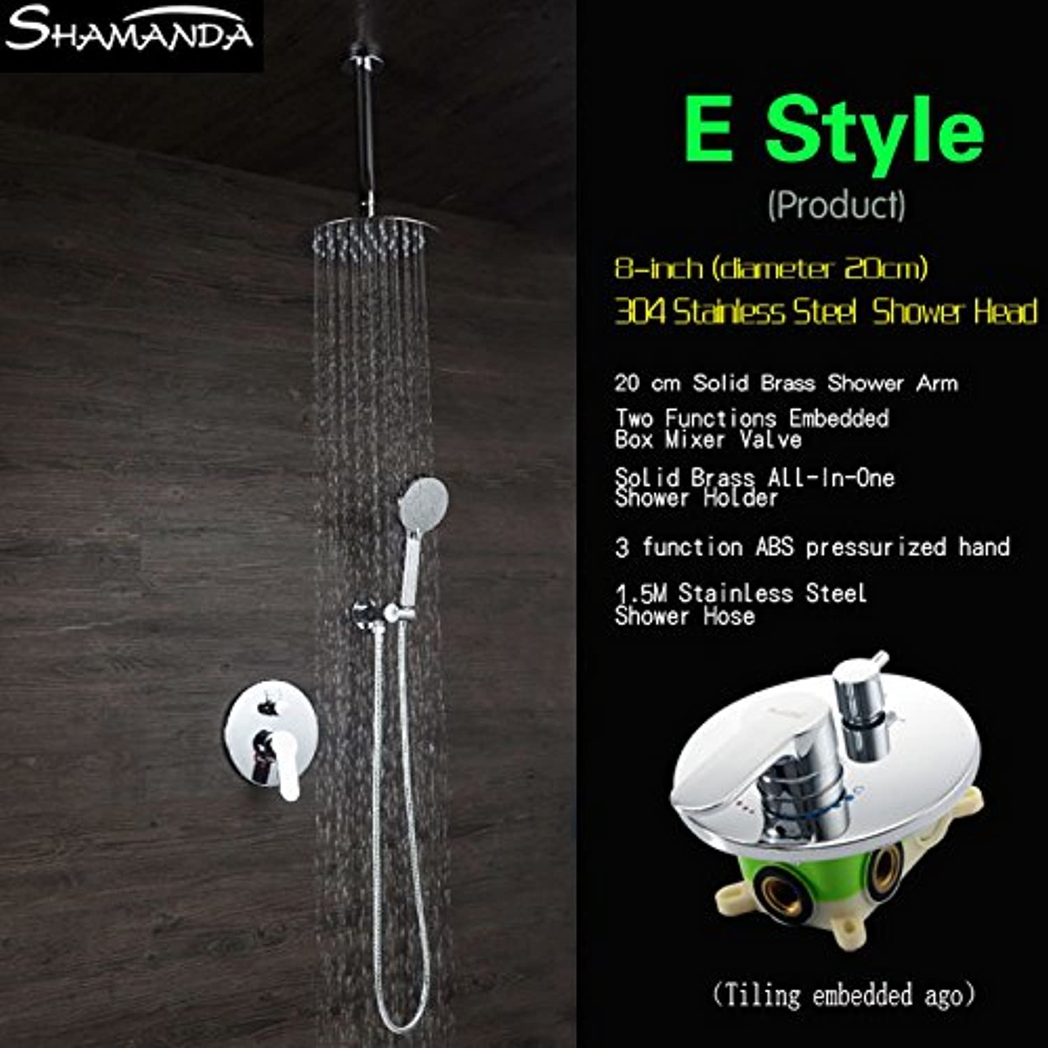 Luxury Concealed Round Two Functions Embedded Box Mixer Valve Shower Set with Various Styles Ceiling Shower Head and Hand Shower,E Style