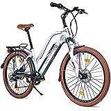 BLUEWHEEL e-Bike 26' para Mujer I Marca Alemana de Calidad I Cumple con normativa UE I Motor Trasero I Shimano 7 Cambios + 25 km/h de Velocidad MAX. y hasta 150 km + App | BXB85 Bicicleta eléctrica