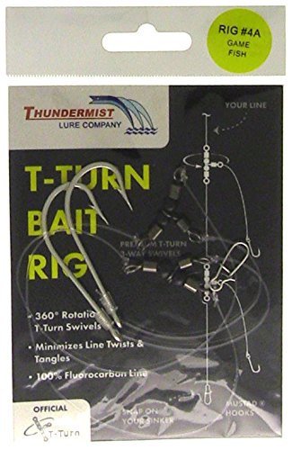 Thundermist Lure Company #4A Salt Water Game Fish Sea Bass/Striper/Fluke/Flounder/Blues/Sea Trout T-Turn Bait Rig, Clear