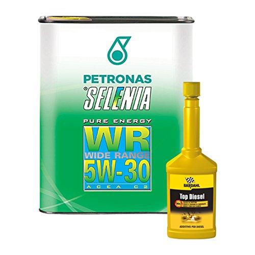 Kit 4 litri olio auto Selenia WR 5W30 + additivo pulizia Bardahl Top Diesel