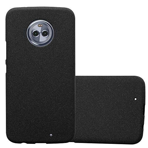 Cadorabo Hülle für Motorola Moto X4 - Hülle in Frost SCHWARZ – Handyhülle aus TPU Silikon im matten Frosted Design - Silikonhülle Schutzhülle Ultra Slim Soft Back Cover Case Bumper