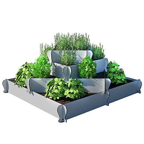 Palram KIMY Outdoor Square Garden Bed Planter: 4-Piece Gray Raised Terrace Plant Holder, Alternating or Corner Stacked Designs, 13 by 23 by 32 Inches