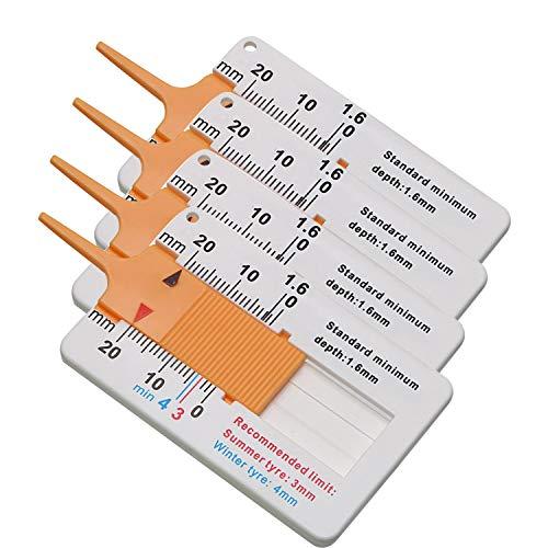 Mein HERZ 4 Stücke Reifenprofiltiefenmesser, Profiltiefenmesser,Digitale Reifenprofiltiefe Messbereich 0-20mm, Einstellbare Profiltiefe Messwerkzeug für Motorradfächer (Orange)