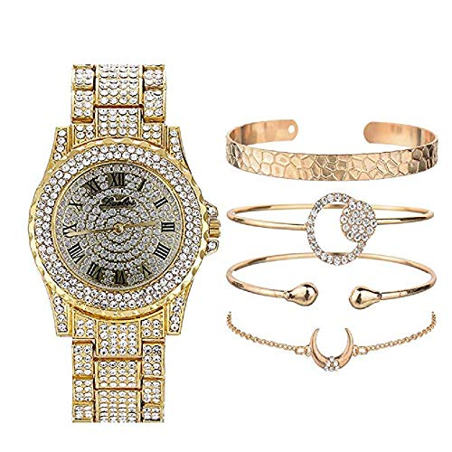 Unisex Hip Hop Watches Bracelets Set Iced out Watches with Full Diamond for Women/Men Bling Bling Watches Jewlery Set Gift for Her/Him