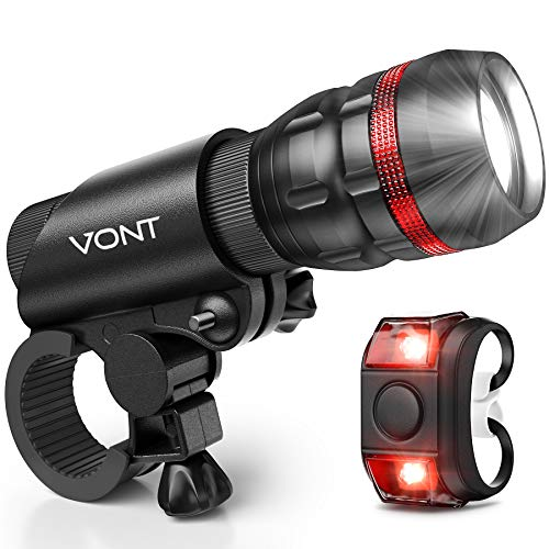 Vont 'Scope' Bike Light, Comes with Free Tail Light, Bicycle Light Installs in Seconds Without Tools, Powerful Bike Headlight Compatible with: Mountain, Kids, Street, Bikes, Front & Back Illumination