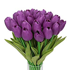 Silk Flower Arrangements Momkids 20 Pcs Artificial Flowers Tulips Faux PU Floral Fake Real Touch Tulip Flower for Home Office Living Room Kitchen Restaurant Wedding Party Decor(Purple 12.5 inch)