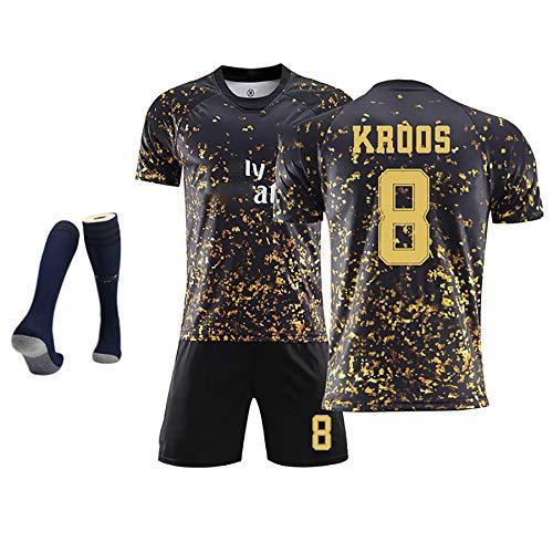 サッカースポーツウェアSERGIO RAMOS4 HAZARD7 KROOS8 BENZEMA9 MDDRIC10レアルマドリードブラックゴールド記念ジャージ、柔らかな質感、繰り返し洗える、ポリ