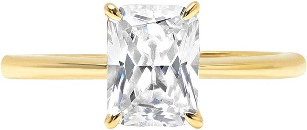 2.5ct Brilliant Radiant Cut Solitaire Stunning Genuine Moissanite Ideal VVS1 D 4-Prong Engagement Wedding Bridal Promise Anniversary Ring in Solid 14k Yellow Gold for Women