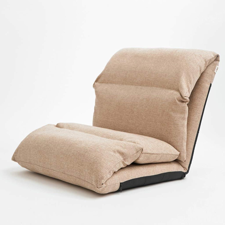 XEWNEG Deck Chair Lounge Chai, Lazy Couch Single Tatami Sofa Foldable Cushion Balcony Lounge Chair Backrest Lazy Chair(65×53×56CM) (color   Khaki color)