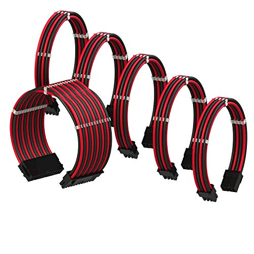 LINKUP - PSU Cable Extension Sleeved Custom Mod GPU PC Braided w/Comb Kit - Compatible with RTX3090┃1x 24 P (20+4)┃2X 8 P (4+4) CPU┃3X 8 P (6+2) GPU Set┃30CM 300MM - RedBlack