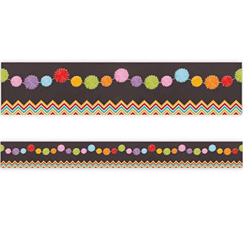 Brights Pom-Poms Bulletin Board Border Classroom Chalkboard Decoration 36ft One Roll