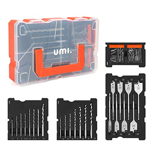 Amazon Brand – Umi Drill Bit Set 55-Piece, Drill Bits and Driver Set for Wood, Metal, Cement Drilling and Screw Driving, with Storage Case