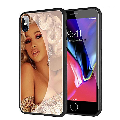 GUOZHAO Phone Case iPhone XR,GZA-2 Cardi B Cardib Tempered Glass Back Black Cover and Soft Silicone Rubber Bumper Frame for Scratch-Resistant and Anti-Scratch Absorption