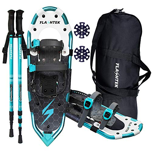 FLASHTEK 25 Inches Snowshoes for Men and Women Lightweight Snowshoes with Poles for Hiking Heel Lift Riser for Mountaineering + Free Carrying Bag (Lake Blue)