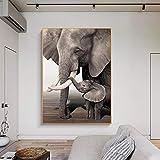 SHKJ Elefante bebé Elefante Animal Entrada impresión Cartel Blanco y Negro Retro Lienzo Arte decoración de Pared Imagen Sala de Estar 80x120cm / 31.5'x47.2 Sin Marco