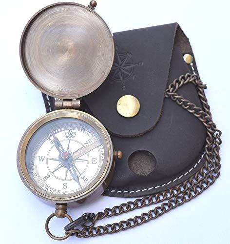 NEOVIVID Gravierbarer Kompass, Taschenkompass, Messing-Kompass mit Ledertragetasche, Piratenkompass, Geschenkkompass, Campingkompass