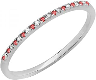 10K 黄金圆形红宝石和白色钻石女士精致周年婚戒可叠加戒指