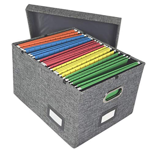 File Organizer Box Storage with Lid, Collapsible Hanging Documents for Files, Filing, Portable, Book, Folder Holder, Desktop, Letter and Legal File Storage Box, Gray 1 Pack