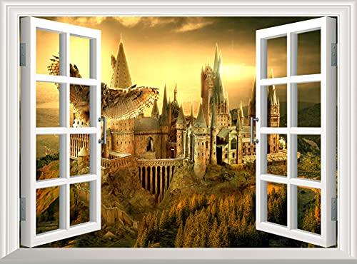 Harry Potter Kasteel Muursticker 3D Raam Muursticker Zweinstein Wizard Verwijderbare Poster Vinyl Muurschildering Art…