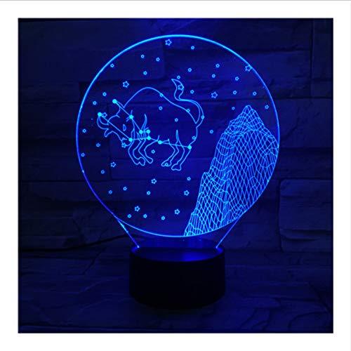 Western Sternzeichen Nachtlicht Led Touch Sensor 7 Farbwechsel Kinder Kinder Baby Nachtlicht Geschenk Taurus Tischlampe Schreibtisch