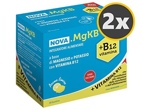 2 Nova. MgKG box da 30 bustine, integratore alimentare a base di Magnesio e Potassio con vitamina B12