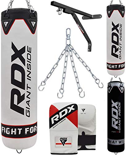 RDX Punch Bag Unfilled Set Muay Thai Training Gloves with Punching Mitts Hanging Chain Wall Bracket, Great for MMA,Kick Boxing, Martial Arts, 4PC Available in 5FT 4FT