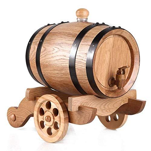 1.5L Whiskey Barrel Dispenser Hout Eiken Veroudering Wijnvat Decanter voor het serveren tafel Thuis Accent Display Opslag van Geesten Liquors Whiskey Retro Natuurlijke kleur