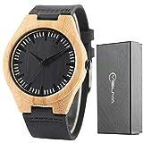 FASIOU - Reloj de pulsera para hombre, de madera de bambú, hecho a mano, correa de piel auténtica, color negro