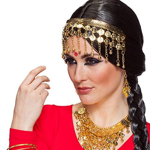 NET TOYS Orientalischer Kopfschmuck Haarschmuck Bauchtänzerin Orient Münzschmuck Kopf Stirnband 1001 Nacht