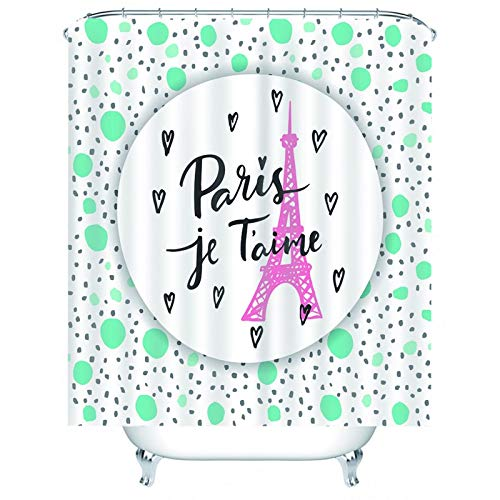Gnzoe Hotel Quality Fabric Shower Curtain, Polyester Eiffel Tower Paris je T'Aime Shower Curtain for Bathroom Pink Cyan 60x80 inch
