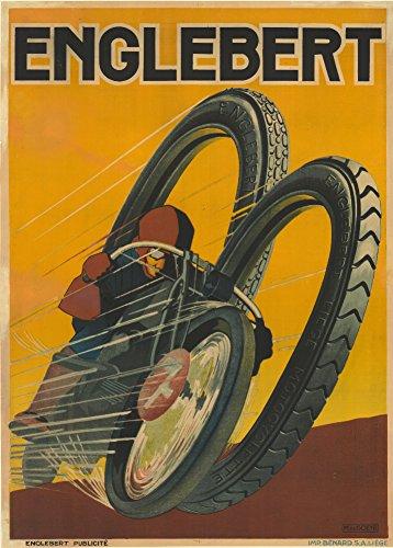 World of Art Vintage Motorrad Englebert Reifen, Belgien, 250GSM, glänzend, A3, vervielfältigtes Poster