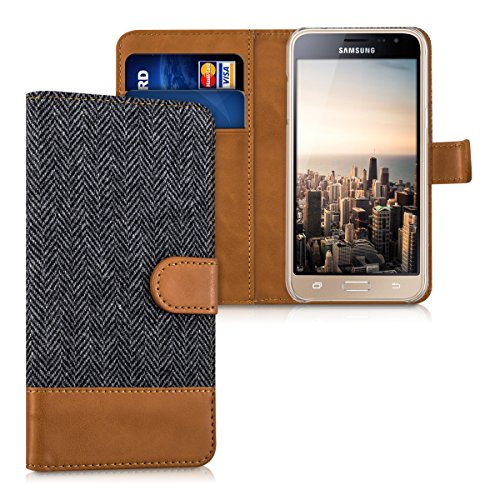 kwmobile Samsung Galaxy J3 (2016) DUOS Hülle - Kunstleder Wallet Case für Samsung Galaxy J3 (2016) DUOS mit Kartenfächern & Stand - Anthrazit Braun