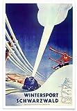 JUNIQE® Reise Ski & Snowboard Poster 20x30cm - Design
