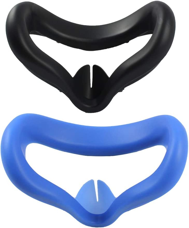 2 PCS VR Face Silicone Cover for Oculus Quest 2 VR Headset, Soft Anti-Sweat VR Eye Cover Face Padding, Washable Anti-Leakage Light Blocking Eye Cover (Black+Blue)