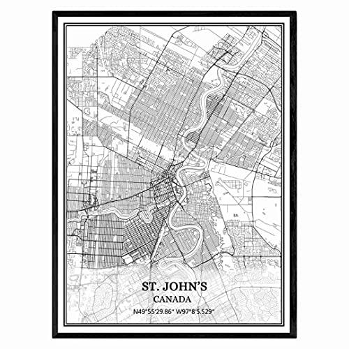de San Juan Canadá Mapa de pared arte lienzo impresión cartel obra de arte sin marco moderno mapa en blanco y negro recuerdo regalo decoración del hogar