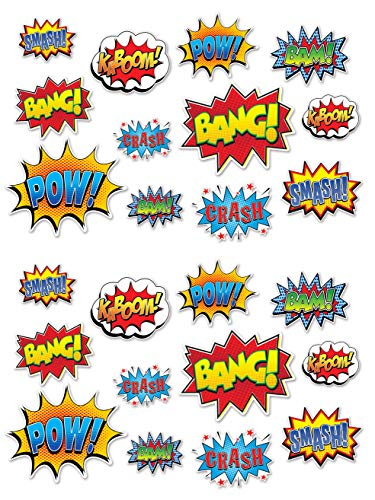 """Beistle Hero Action Sign Cut Outs 24 Piece Comic Decorations Birthday Party Supplies 6"""" – 12.5"""", Multicolored"""