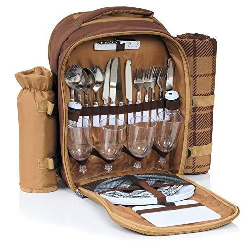CampFeuer Picknick Rucksack für 4 Personen mit Flaschenhalter und Fleece Decke, großem Kühlfach, Geschirr und Besteck, Picknickset 32-teilig, braun