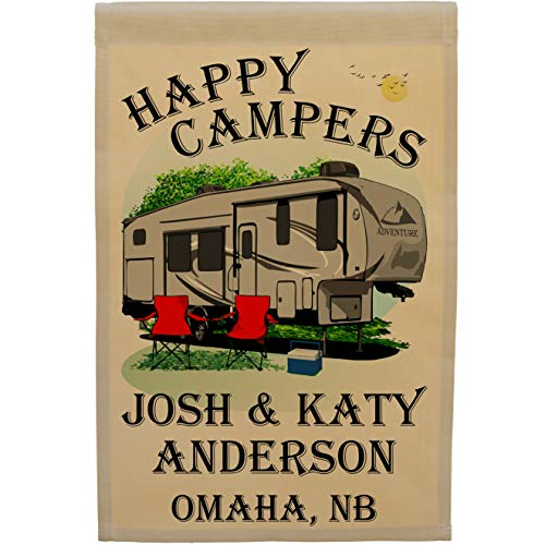 Happy Campers Personalized Camping Flag with 5th Wheel Trailer (Gray with Black Windows on Tan)