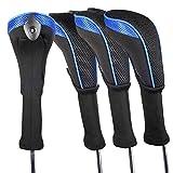 Andux ロングネック ゴルフ ハイブリッド クラブヘッドカバー 交換可能な番号タグ付き 4個セット (ブラック/ブルー)