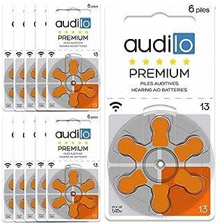 Audilo Oído Batería 13 Premio (PR48) | Pilas para Audífono [Aire de Zinc] [Sin Mercurio] [1.45V] 10 Tarjetas de 6 Batería de Audífono | Color De Naranja