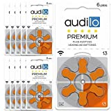 Audilo Piles Auditives 13 (PR48) Premium| Batteries pour Appareil Auditif et Aide Auditive [Zinc Air] [Sans Mercure] [1.45V] Lot de 10 Plaquettes de 60 Piles Auditives | Couleur Orange