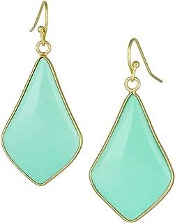TUMBEELLUWA Crystal Quartz Stone Dangle Hook Earrings Rhombus Gold Plated