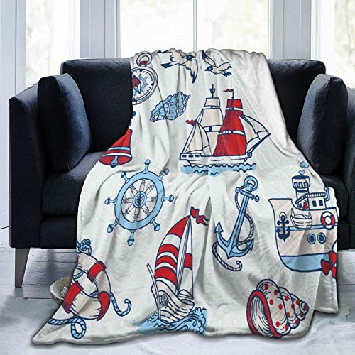 Minalo Personalized Fleece Blanket,Kids Cartoon Nautical Figures,Living Room/Bedroom/Sofa Couch Bed Flannel Quilt Throw Blanket,50' X 60'