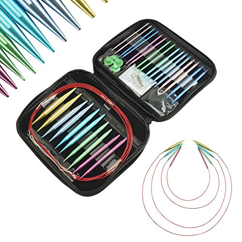 LAYOER Interchangeable Knitting Needle Set 2.75mm-10mm 13 Sizes Aluminum Circular Knitting