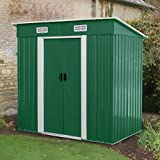 BAHOM Horizontal Outdoor Storage Shed 3.5X6 FT with Floor Base, Lockable Organizer for Garden, Patio, Backyard Tools and Accessories (Green)